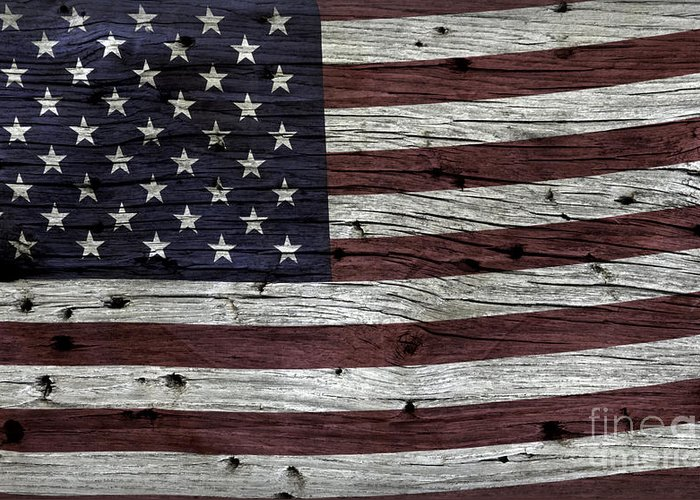 Usa Greeting Card featuring the photograph Wooden Textured Usa Flag3 by John Stephens