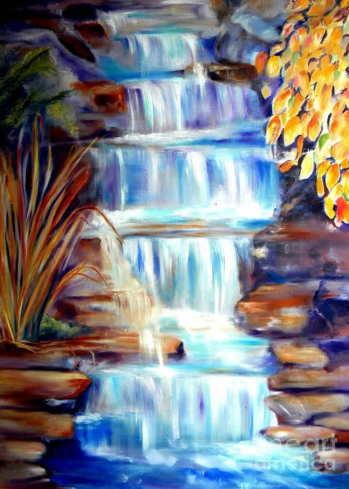 Waterfall Greeting Card featuring the painting Woodland Oasis by Sandy Ryan