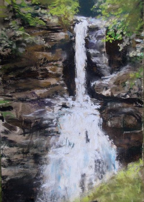 Waterfall Greeting Card featuring the painting Woodland Waterfall by Jack Skinner