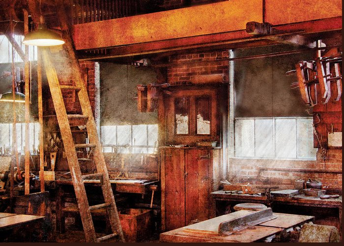 Savad Greeting Card featuring the photograph Woodworker - Old Workshop by Mike Savad