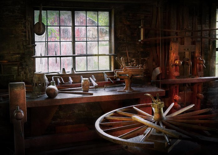 Carpenter Greeting Card featuring the photograph Woodworker - The Wheelwright Shop by Mike Savad