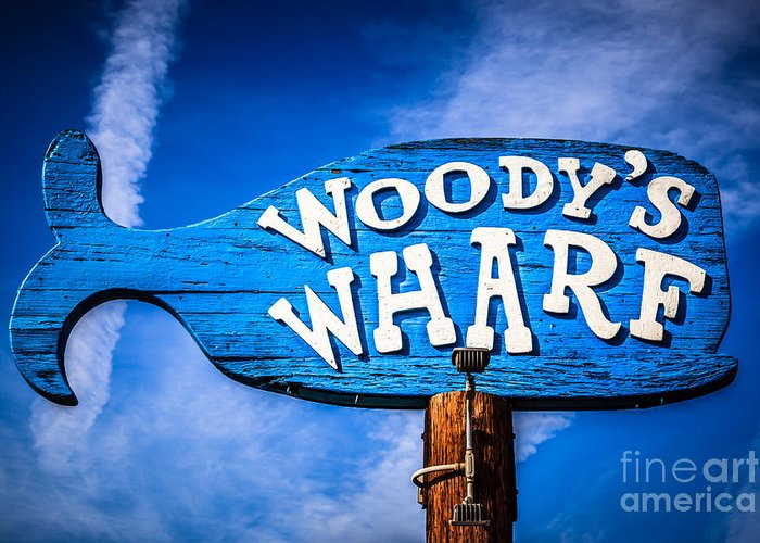 America Greeting Card featuring the photograph Woody's Wharf Sign Newport Beach Picture by Paul Velgos