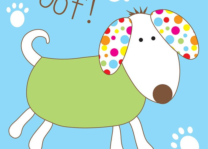 Dog Greeting Card featuring the digital art Woof by Cath Ager