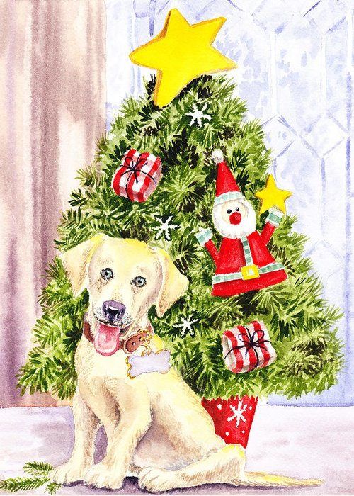 Christmas Greeting Card featuring the painting Woof Merry Christmas by Irina Sztukowski