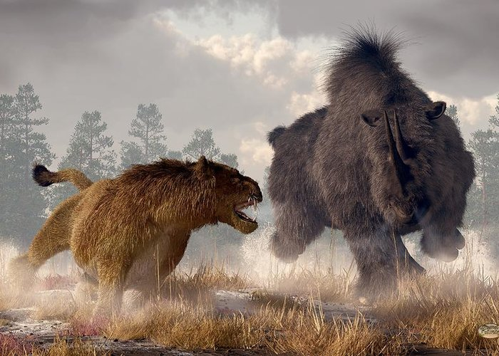 Woolly Rhino Greeting Card featuring the digital art Woolly Rhino And Cave Lion by Daniel Eskridge