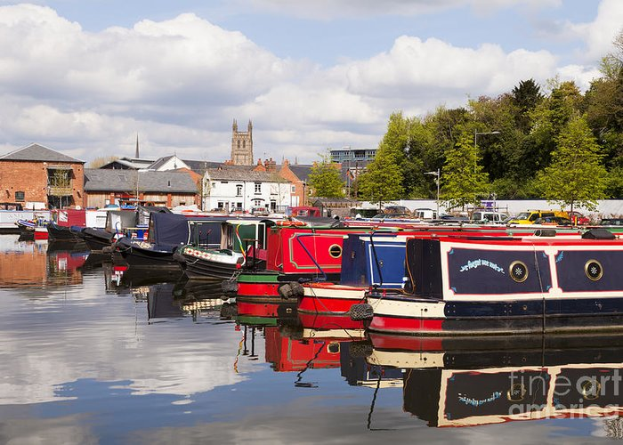 Worcester Greeting Card featuring the photograph Worcester Diglis Basin Narrow Boats by Colin and Linda McKie