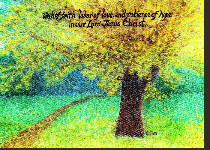 Uplifting Greeting Card featuring the painting Work Of Faith by Catherine Saldana