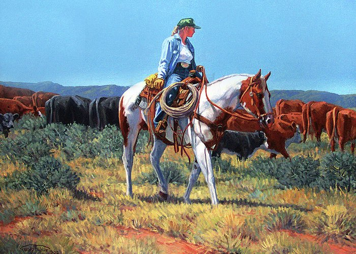 Cowgirl Greeting Card featuring the painting Working Cowgirl by Randy Follis