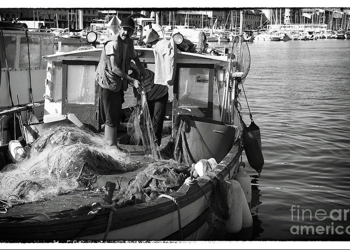 Working The Nets Greeting Card featuring the photograph Working The Nets by John Rizzuto
