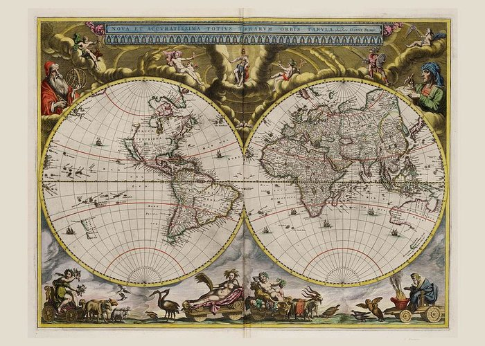 World Worlds Map Maps 1664 Ad Anno Domini The Year Of Our Lord Nova Et Acuratissima Terrarium Orbis Tabula North America American South Central Europe European Asia Asian Africa African Australia Australian Artic Antarctic Asia Minor Atlantic Ocean Pacific Indian Artic Antarctic Equator North Pole South Pole Circle Circles Tropic Of Cancer Of Capricorn Latitude Latitudes Latitudinal Longitude Longitudes Longitudinal Nautical Mile Degrees Degree Minute Minutes Second Seconds Sextant Navigate Greeting Card featuring the drawing World Map 1664 Ad With Small Matching Border by L Brown