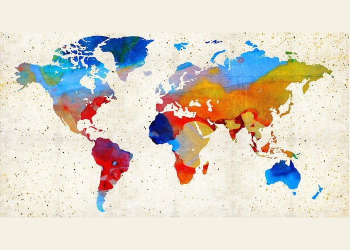 Map Greeting Card featuring the painting World Map 18 - Colorful Art By Sharon Cummings by Sharon Cummings