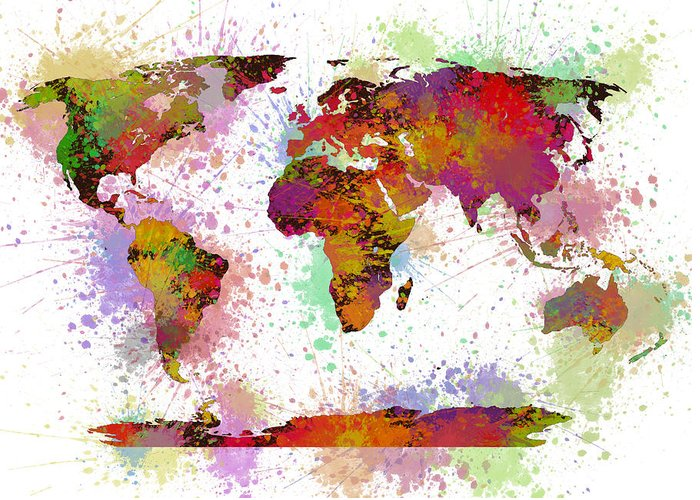 World Map Greeting Card featuring the painting World Map Digital Watercolor Painting by Georgeta Blanaru