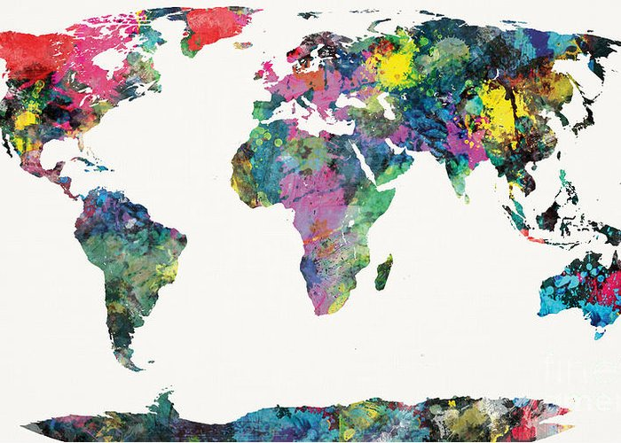 World Greeting Card featuring the painting World Map by Mike Maher