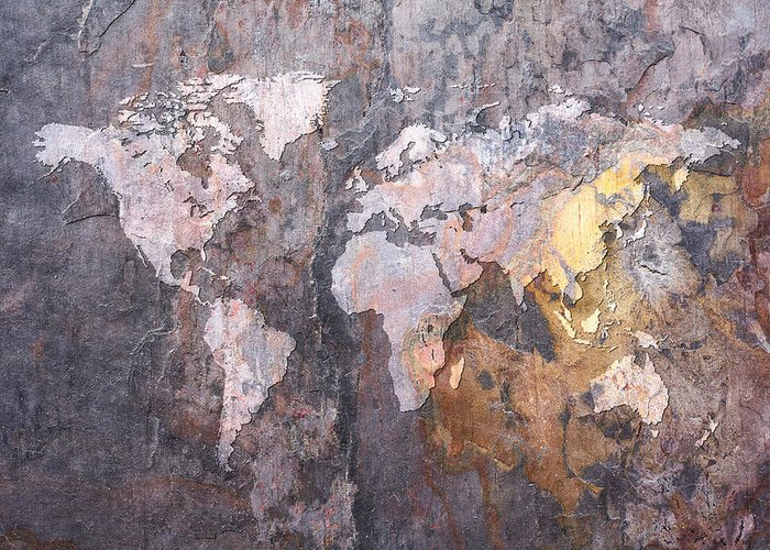 World Map Greeting Card featuring the digital art World Map On Stone Background by Michael Tompsett