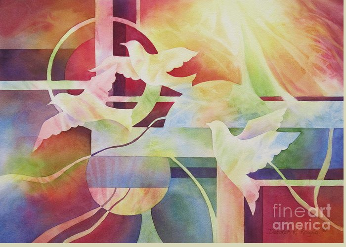 World Peace Greeting Card featuring the painting World Peace 2 by Deborah Ronglien