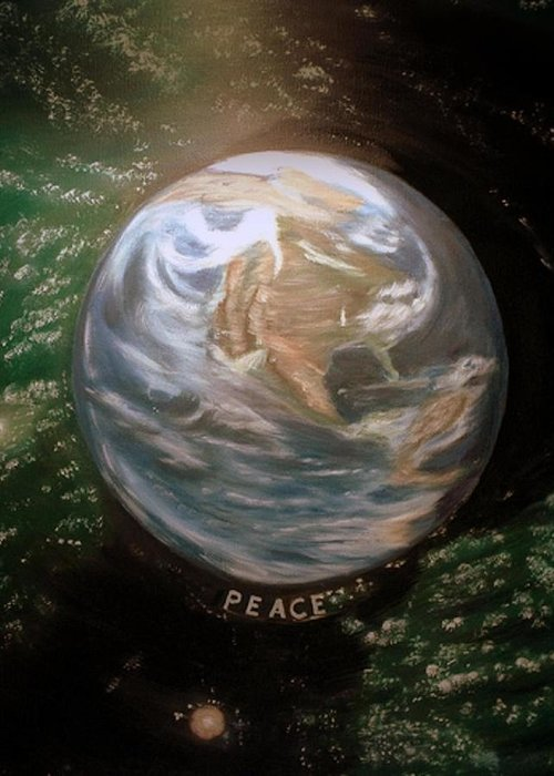 Greeting Card featuring the painting World Peace by Kenneth LePoidevin