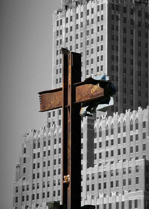 World Greeting Card featuring the photograph World Trade Center Cross New York by Mathew Lodge