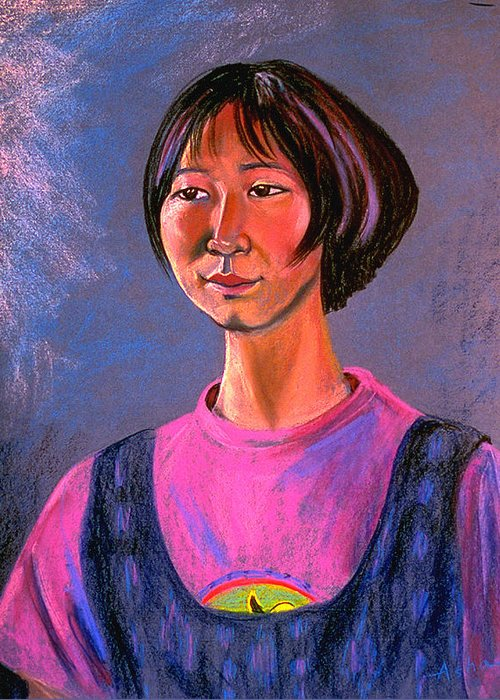 Pastel Portrait Painting Greeting Card featuring the painting World Traveler For Peace by Asha Carolyn Young