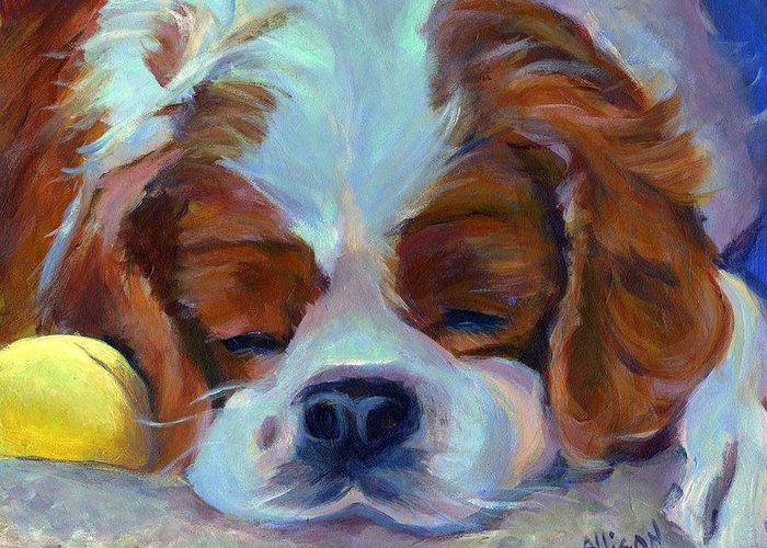 Dog Greeting Card featuring the painting Worn Out by Stephanie Allison