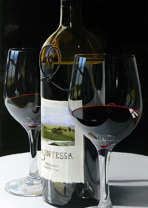 Wine Art Greeting Card featuring the painting Worth The Wait by Brien Cole