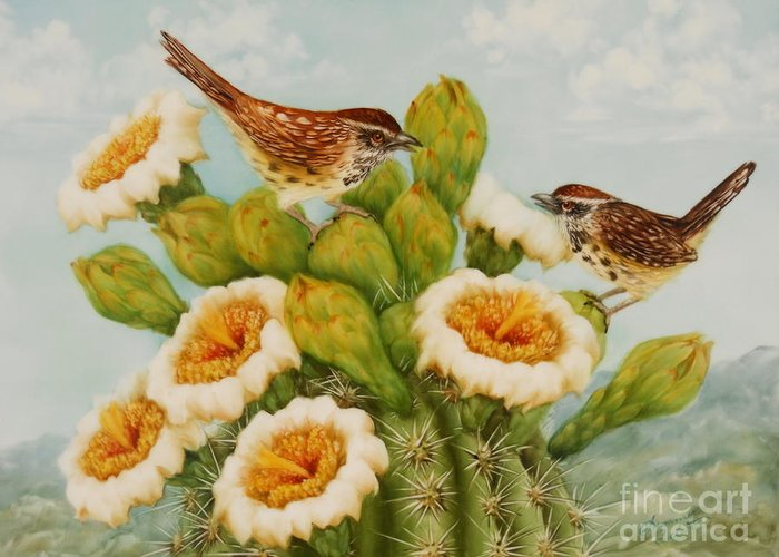 Wren Greeting Card featuring the painting Wrens On Top Of Tucson by Summer Celeste