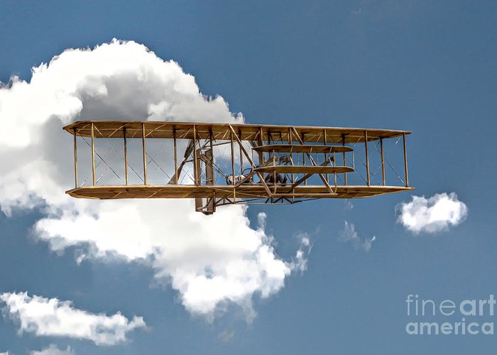Wright Brothers Greeting Card featuring the digital art Wright Brothers First Flight by Randy Steele