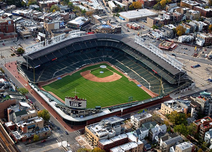 Chicago Cubs Greeting Card featuring the photograph Wrigley Field Chicago Sports 02 by Thomas Woolworth