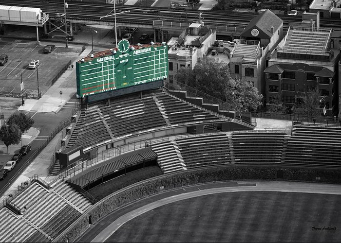 Chicago Cubs Greeting Card featuring the photograph Wrigley Field Chicago Sports 04 Selective Coloring by Thomas Woolworth