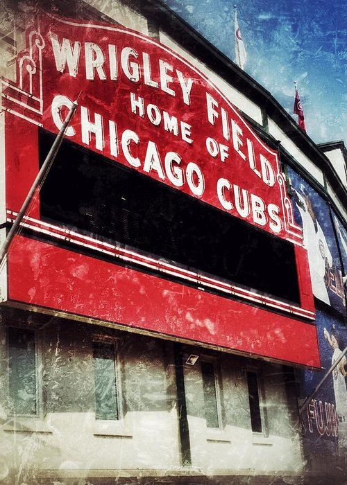 Cubs Greeting Card featuring the photograph Wrigley Red by Jame Hayes
