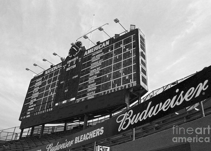 Wrigley Field Greeting Card featuring the photograph Wrigley Scoreboard Sans Color by David Bearden