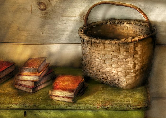 Savad Greeting Card featuring the photograph Writer - A Basket And Some Books by Mike Savad