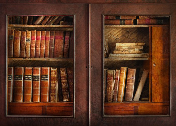 Old Fashioned Greeting Card featuring the photograph Writer - Books - The Book Cabinet by Mike Savad