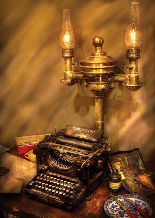 Savad Greeting Card featuring the photograph Writer - Remington Typewriter by Mike Savad