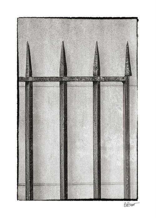 New Orleans Greeting Card featuring the photograph Wrought Iron Gate In Black And White by Brenda Bryant