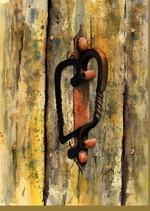 Rust Greeting Card featuring the painting Wrought Iron Handle by Sam Sidders