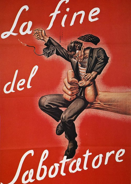 1944 Greeting Card featuring the photograph Wwii: Italian Poster, 1944 by Granger