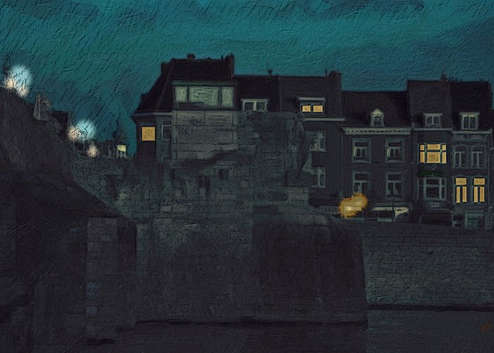 Wyck Greeting Card featuring the painting Wyck By Night by Nop Briex