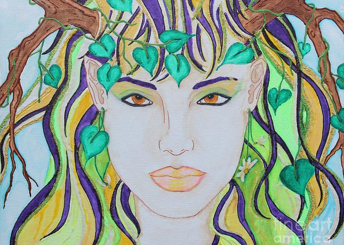 Spring Greeting Card featuring the painting Wyld Spring Spirit by Luanna Swaney