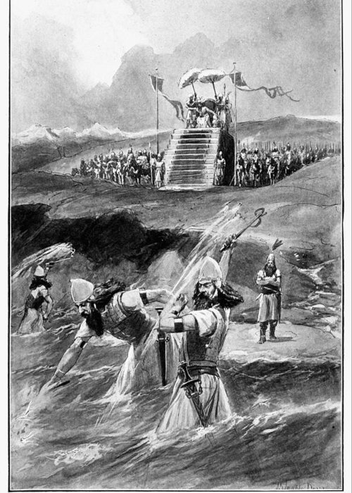 480 B.c Greeting Card featuring the drawing Xerxes At Hellespont by Granger