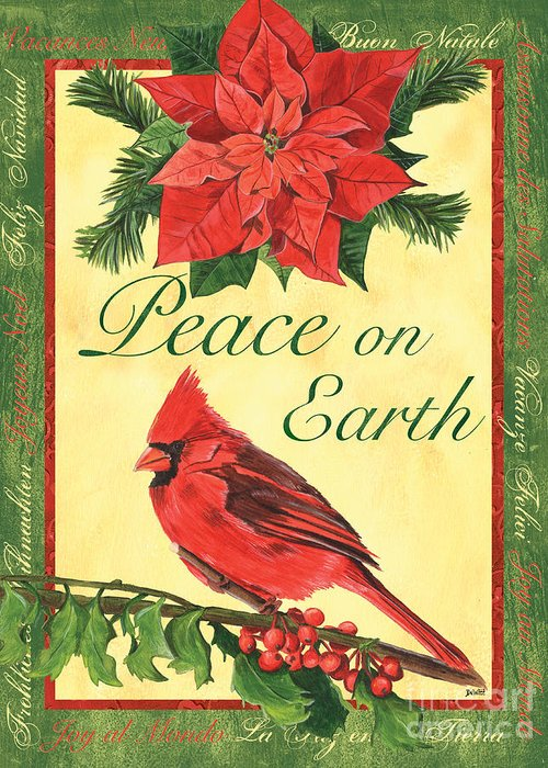 Cardinal Greeting Card featuring the painting Xmas Around The World 1 by Debbie DeWitt