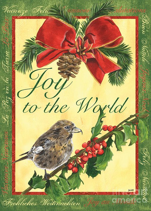 Titmouse Greeting Card featuring the painting Xmas Around The World 2 by Debbie DeWitt