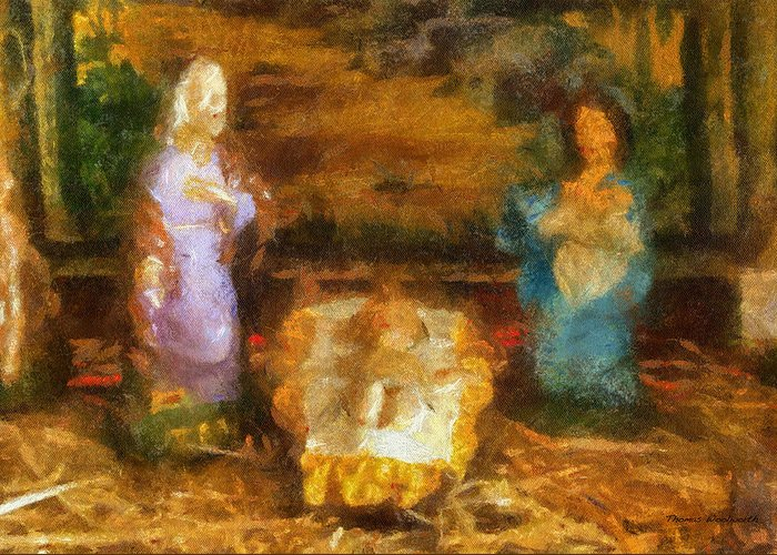 Baby Jesus Greeting Card featuring the photograph Xmas Baby Jesus Photo Art by Thomas Woolworth