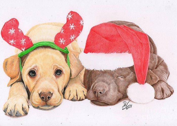 Puppies Greeting Card featuring the drawing Xmas Pups by Deborah Nicholas