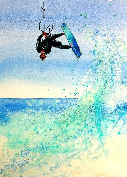 Kiteboarding Greeting Card featuring the painting Xtreme Big Air by Lynee Sapere