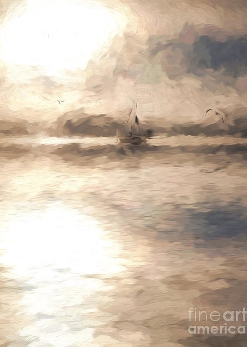 Yacht Greeting Card featuring the photograph Yacht in mist at Bay of Plenty by Sheila Smart Fine Art Photography