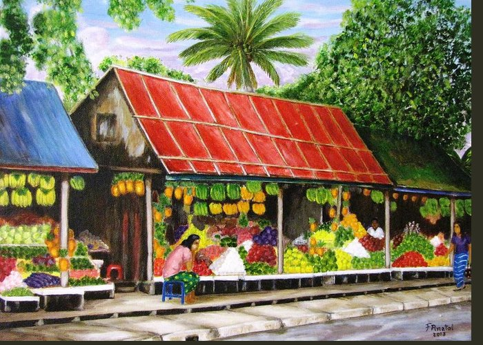 Culture Greeting Card featuring the painting Yangon Fruitstand by Frank Anatol