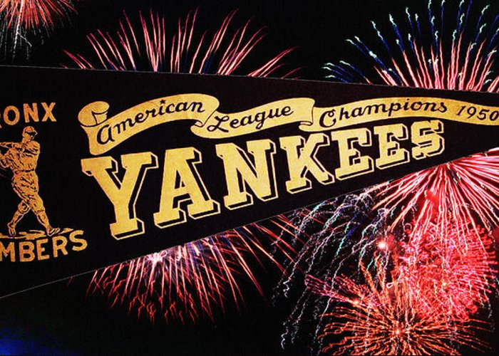 American Greeting Card featuring the photograph Yankees Pennant 1950 by Bill Cannon