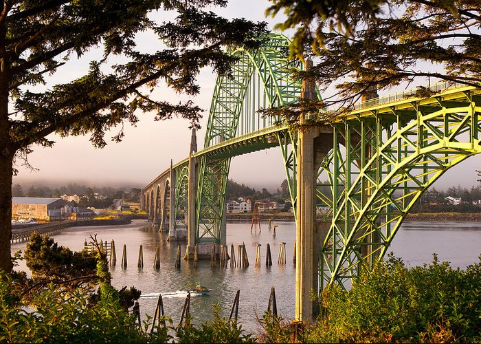 Brookings Greeting Card featuring the photograph Yaquina Bay Bridge Morning Light by Darren White