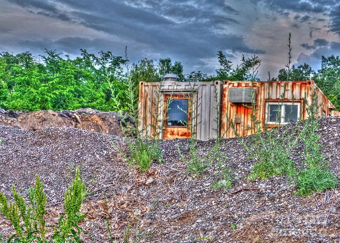 Mj Olsen Greeting Card featuring the photograph Yard Office Shack by MJ Olsen