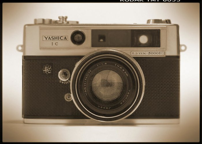Classic Film Camera Greeting Card featuring the photograph Yashica Lynx 5000e 35mm Camera by Mike McGlothlen